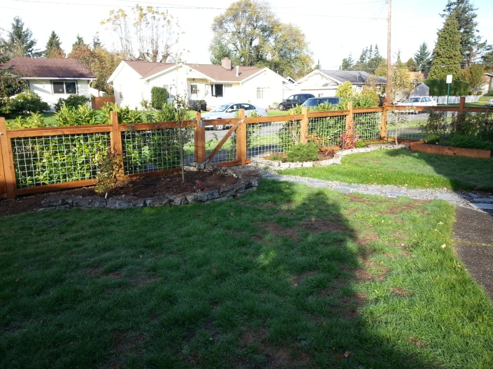 finished wood fence
